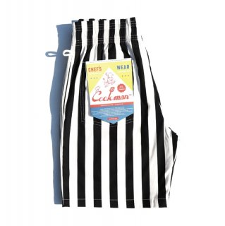 <img class='new_mark_img1' src='https://img.shop-pro.jp/img/new/icons1.gif' style='border:none;display:inline;margin:0px;padding:0px;width:auto;' />【COOKMAN】 Chef Pants Short Wide Stripe Black