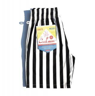 【COOKMAN】 Chef Pants Short Wide Stripe Black