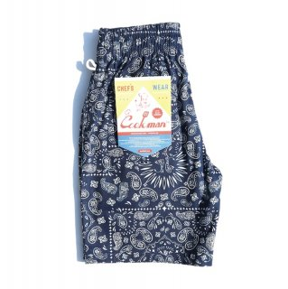 【COOKMAN】 Chef Pants Short Paisley Navy