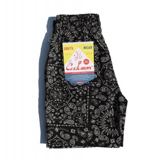 <img class='new_mark_img1' src='https://img.shop-pro.jp/img/new/icons1.gif' style='border:none;display:inline;margin:0px;padding:0px;width:auto;' />【COOKMAN】 Chef Pants Short Paisley Black