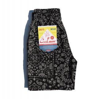 【COOKMAN】 Chef Pants Short Paisley Black
