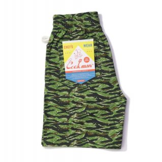 【COOKMAN】 Chef Pants Short Ripstop Camo Green (Tiger)
