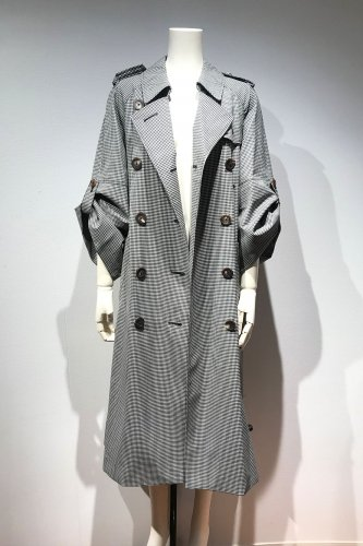 50%OFF GINGHAM CHECK BIG-SLEEVE TRENCH