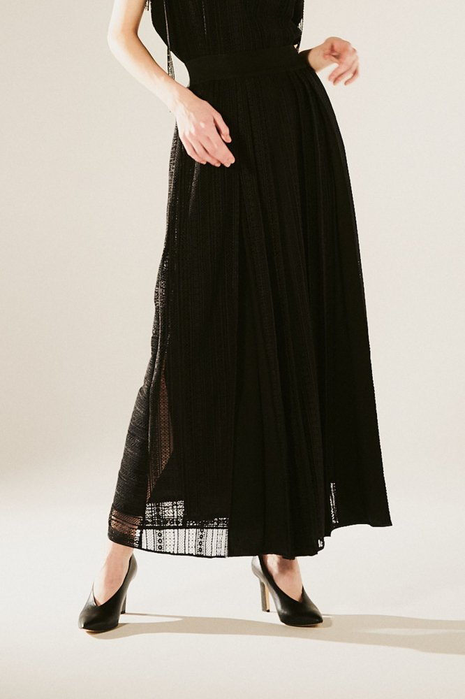 CHEMICAL-LACE PLEATS SKIRT