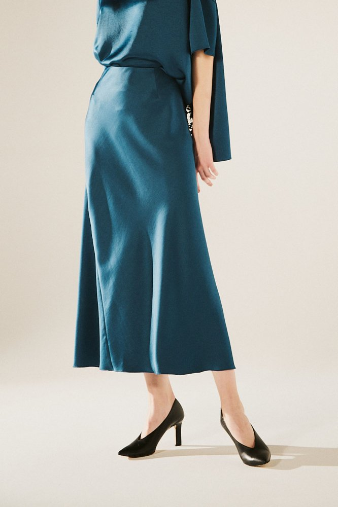 VINTAGE-SATIN DRAPE SKIRT