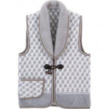 チョッキ ベスト ファッション 衿付ジャカード織 アクリルベスト グレー  (30)