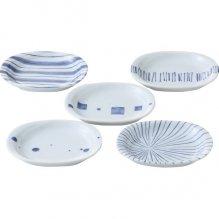皿 セット おしゃれ プレート 染付幾何紋 楕円小皿 5枚揃 14142 (16)