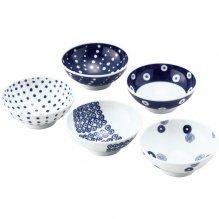 食器 食器セット おしゃれ 藍丸紋 小付 5客揃 14051 (24)