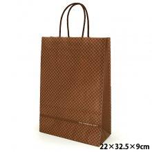 【有料】 ギフトバッグ 紙袋 手提げ チェック柄 ブラウン 「THE PREMIUM GIFT」 サイズ:横22×縦32.5×マチ9cm