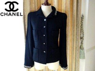 8f6ad4d8488a 超美品 【CHANEL】 ロゴ ブラックジャケット CCボタン 黒