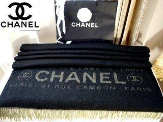 f553c7ad8887 美品 【CHANEL】 カシミヤ100% 特大ショール ロゴ×CCマーク 黒