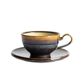 阿久津 雅土 コーヒーカップ&ソーサー(丸)飴釉