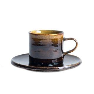 阿久津 雅土 コーヒーカップ&ソーサー(筒)飴釉