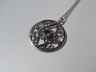 <center><b>Leaves Of Cloud</b><br>Silver Necklace - Iolite</center>