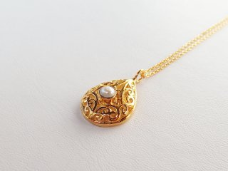 <center><b>Come True Wish</b><br>Gold Necklace - Pearl</center>