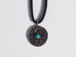 <center><b>Leaves Of Cloud Antique</b><br>Silver Necklace - Turquoise</center>