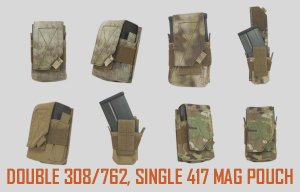 UR-TACTICAL OPS DOUBLE M14/.308 ,SINGLE 417 MAG POUCH