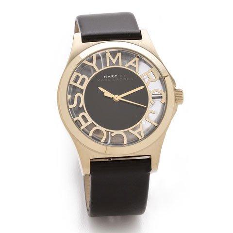 マークジェイコブス 時計 ヘンリ-スケルトン MBM1246 ゴールド×ブラックレザー