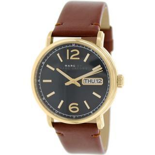 マークジェイコブス メンズ腕時計 ファーガス MBM5077 ダークグリーン×ブラウンレザー