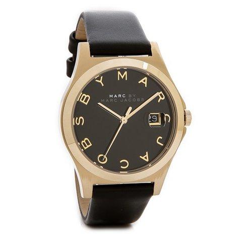 マークジェイコブス 時計 ザ・スリム MBM1357 ゴールド×ブラックレザー