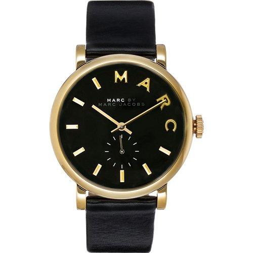 マークジェイコブス 時計 ベイカー MBM1273 スモールセコンド ブラック×ゴールド×ブラックレザーベ…