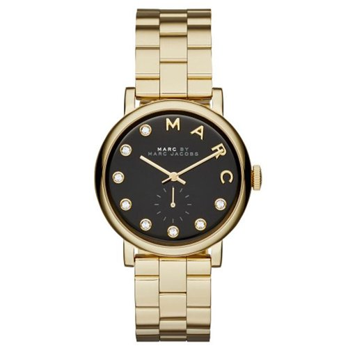 マークジェイコブス 時計 ベイカー MBM3421 ブラック×クリスタルストーン×ゴールド