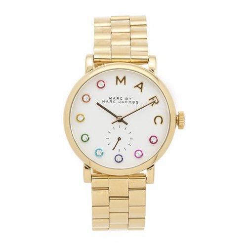 マークジェイコブス 時計 ベイカー MBM3440 ホワイト×クリスタルストーン×ゴールド