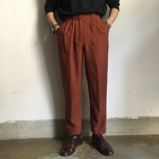 80年代 Stephanie Andrews Silk Tuck Pants パーシモン