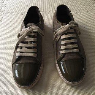 LANVIN Enamel×Suede Sneakers 6 アウトソール28㎝