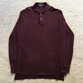 90年代 Polo by Ralph Lauren Long Sleeve Polo Shirt L バーガンディ
