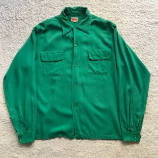 60年代 TOWNCRAFT Rayon Shirt 緑 M 15-15 1/2