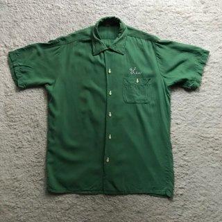 1950s Rayon Bowling Shirt  M ボーリングピンボタン ユニオンチケット付き