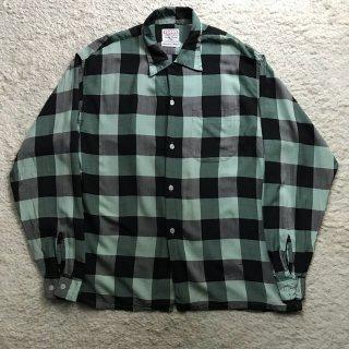 1960s Tri Val Block Cheak Rayon Shirt 16-L-16 1/2
