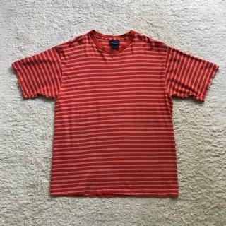90年代 EDITIONS ボーダー S/S Tシャツ オレンジ×白