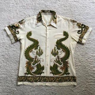 70年代 開襟 龍柄 半袖 コットン シャツ