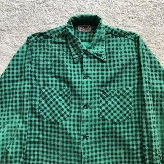 60年代 マンハッタン ギンガムチェックプリント ネルシャツ 緑×黒