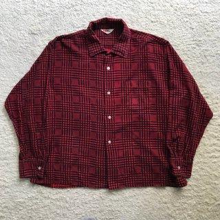 60年代 BVD チェックプリント ネルシャツ 17-17 1/2 赤×黒