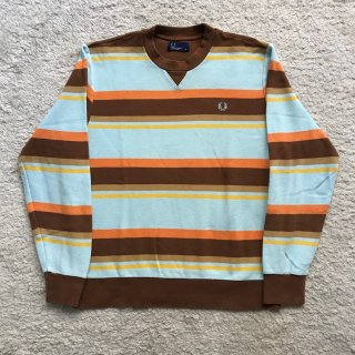 FRED PERRY 鹿の子 前V L/S ボーダー M
