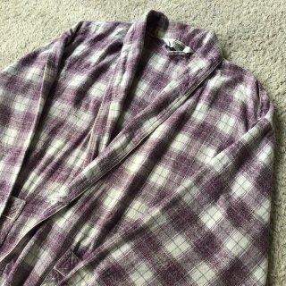 Vintage Light Cotton Flannel Gown Coat パープル系チェック