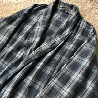 Vintage Light Cotton Flannel Gown Coat ブルーグレー系チェック