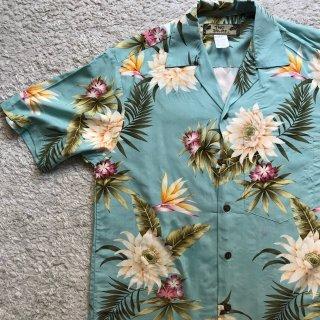 90年代 TWO PALMS レーヨン ハワイアン シャツ S ミント MADE IN HAWAII