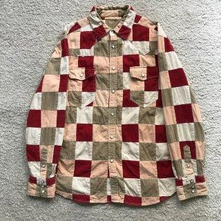 90年代 コーデュロイ パッチワーク ウエスタン シャツ