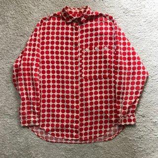 90年代 ドット柄 リネン L/S Shirt M
