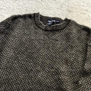 90's NAUTICA Wool knit pull over L/G 茶