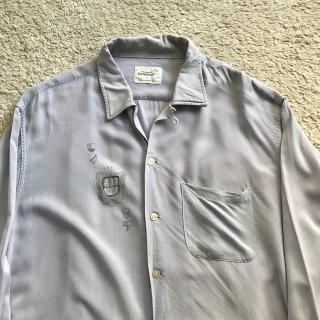 60's TOWN CRAFT Rayon Shirt ブルーグレー XL 17-17 1/2