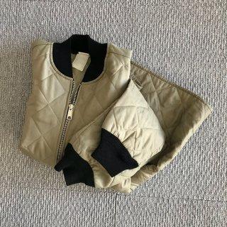 80's UNKNOWN キルティング ジャケット グレー 黒リブ