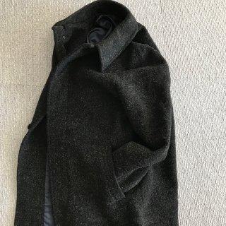 90's SO Alexander van slobbe ウール バルカラー ロング コート 46 ブラック