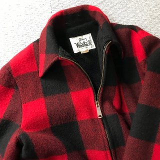 80's Woolrich Wool Zip-up Boa Jacket ブロックチェック MADE IN USA