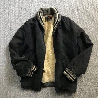 60's MEIKA ブラックベロア ボア ジップアップ ジャケット USA