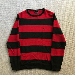 FRED PERRY ボーダー ウール ニット 38 赤×黒 MADE IN ITALY